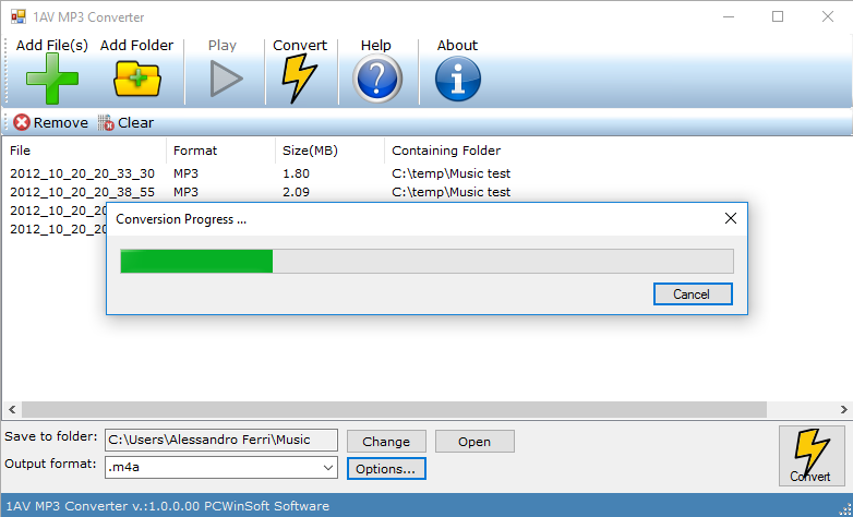 1AV MP3 Converter, Audio Software Screenshot