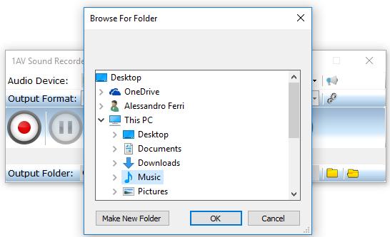 1AV Sound Recorder, Audio Software Screenshot