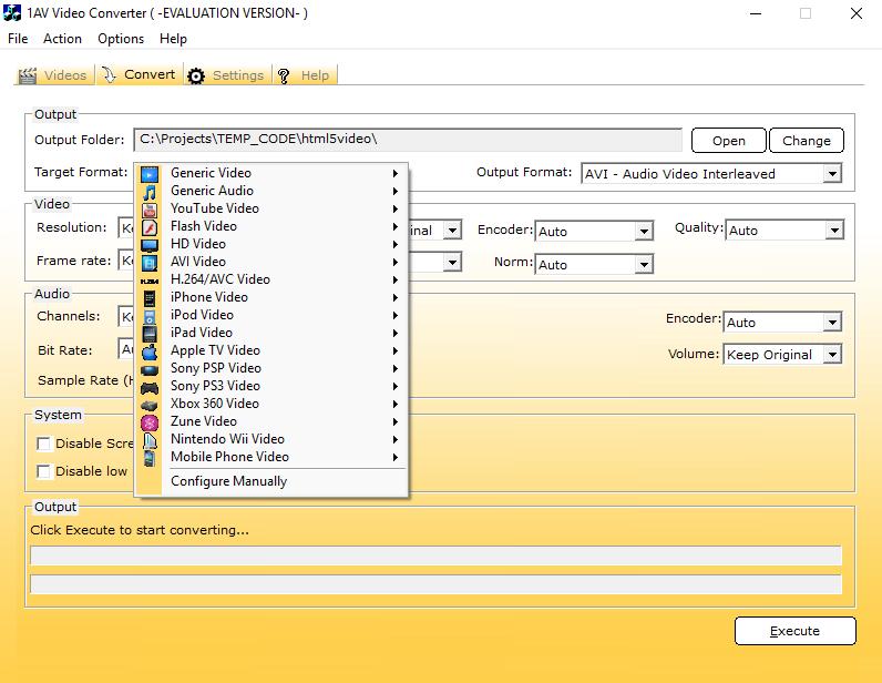 Video Software, 1AV Video Converter Screenshot