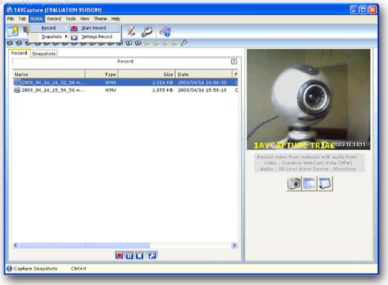 1AVCapture, Video Software Screenshot
