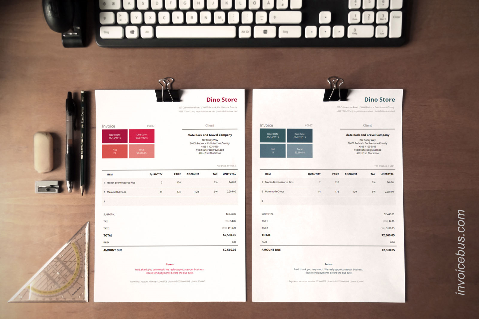 40+ Interactive Invoice Templates Screenshot 11