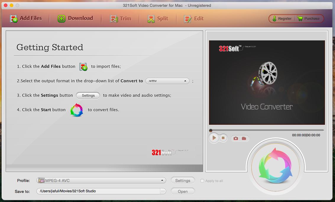 321Soft Video Converter for Mac Screenshot