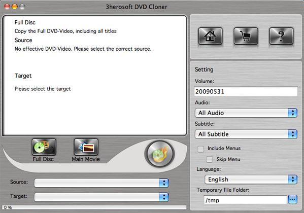 3herosoft DVD Cloner for Mac Screenshot