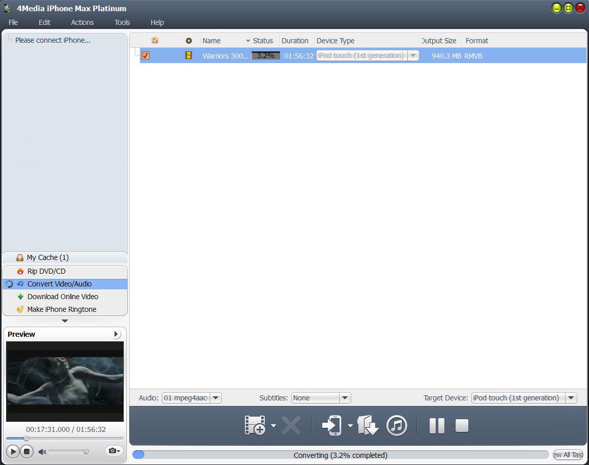 4Media iPhone Max Platinum for Mac & Win, Video Software Screenshot