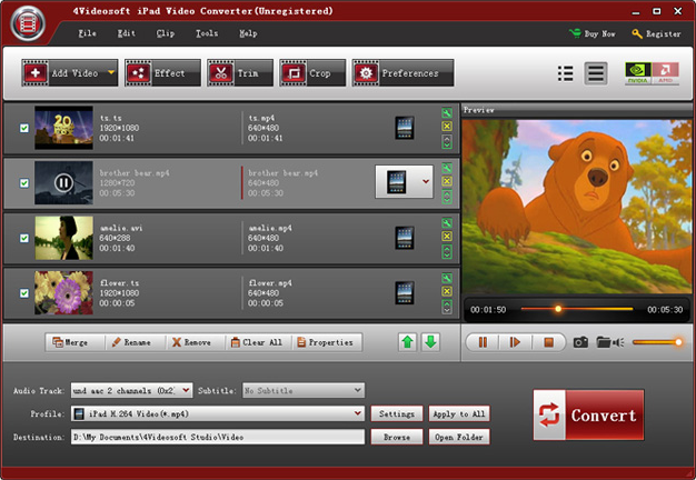 4Videosoft iPad Mate, Video Converter Software Screenshot