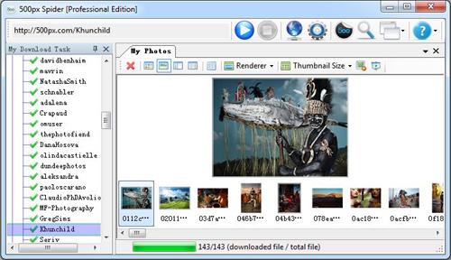 500px Spider Screenshot