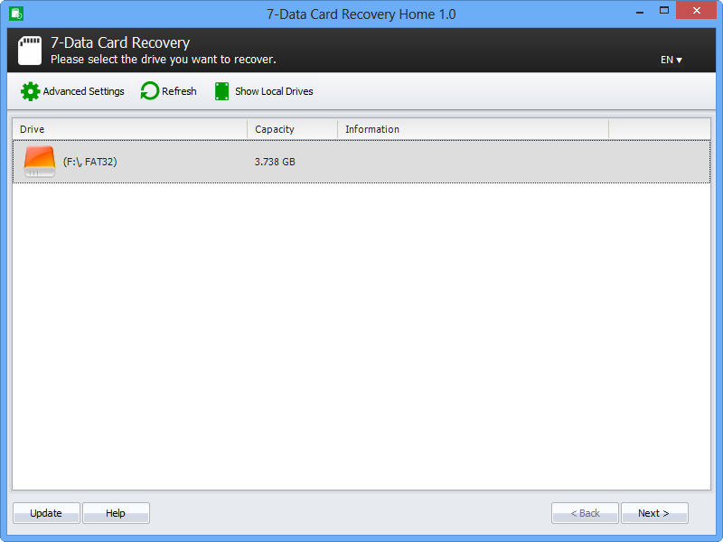 7-Data Card Recovery Screenshot