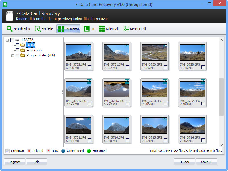7-Data Card Recovery, Recovery Software Screenshot