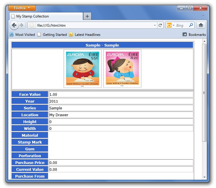 Hobby, Educational & Fun Software, Stamp/Coin/Banknote Collection Manager Screenshot