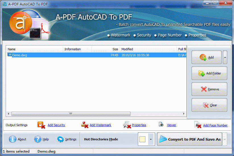 A-PDF AutoCAD to PDF Screenshot