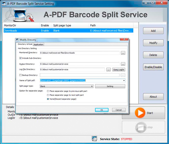 A-PDF Barcode Split Service Screenshot
