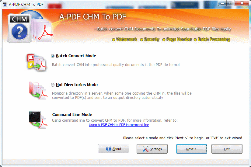 A-PDF CHM to PDF Screenshot