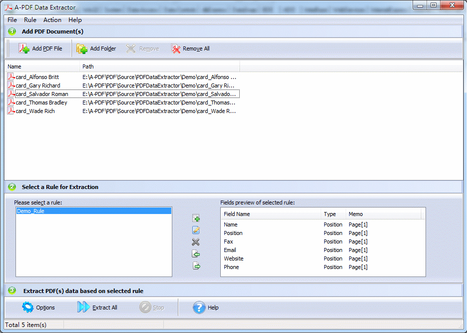 A-PDF Data Extractor Screenshot