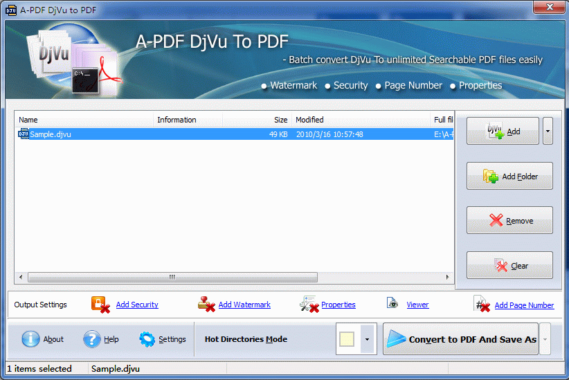 A-PDF DJVU to PDF Screenshot