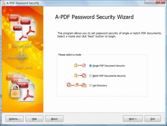 A-PDF Password Security Screenshot