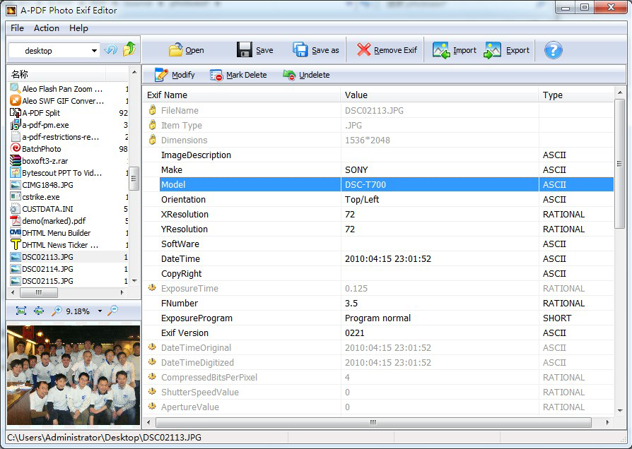 A-PDF Photo Exif Editor Screenshot