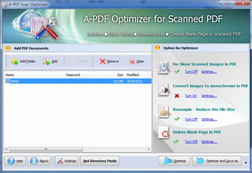 A-PDF Scan Optimizer Screenshot