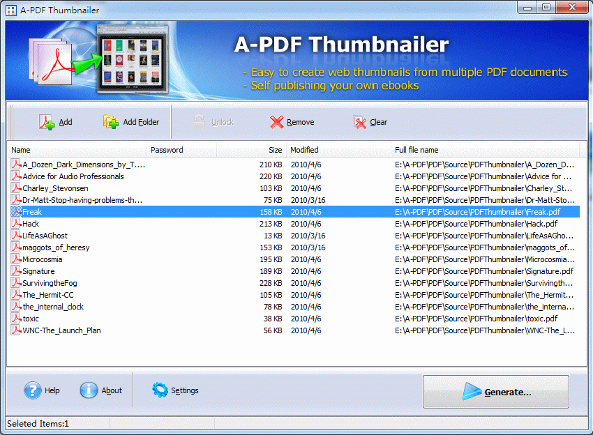A-PDF Thumbnailer Screenshot