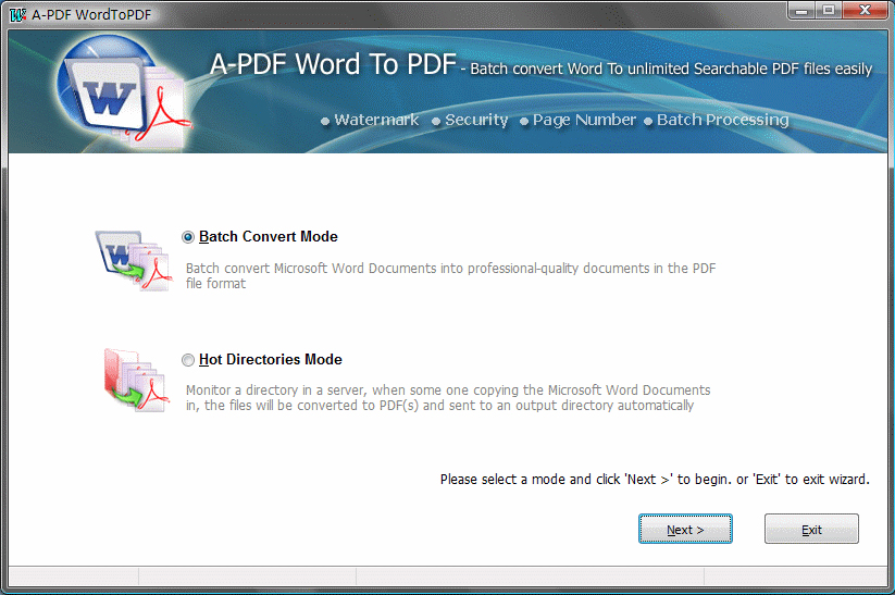 A-PDF Word to PDF Screenshot