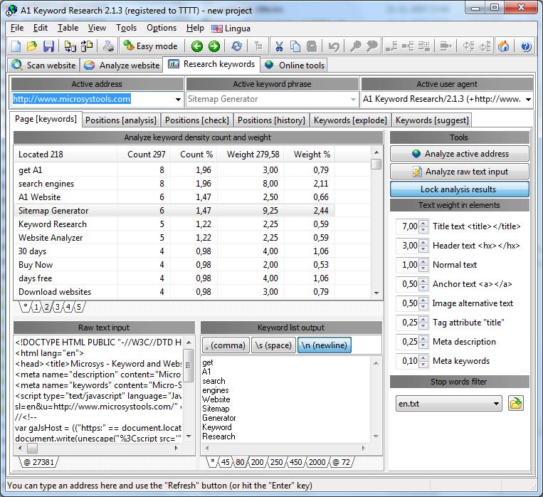A1 Keyword Research 9.x Screenshot