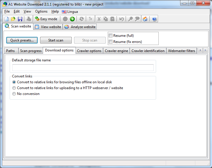 A1 Website Download 8.x, Development Software Screenshot