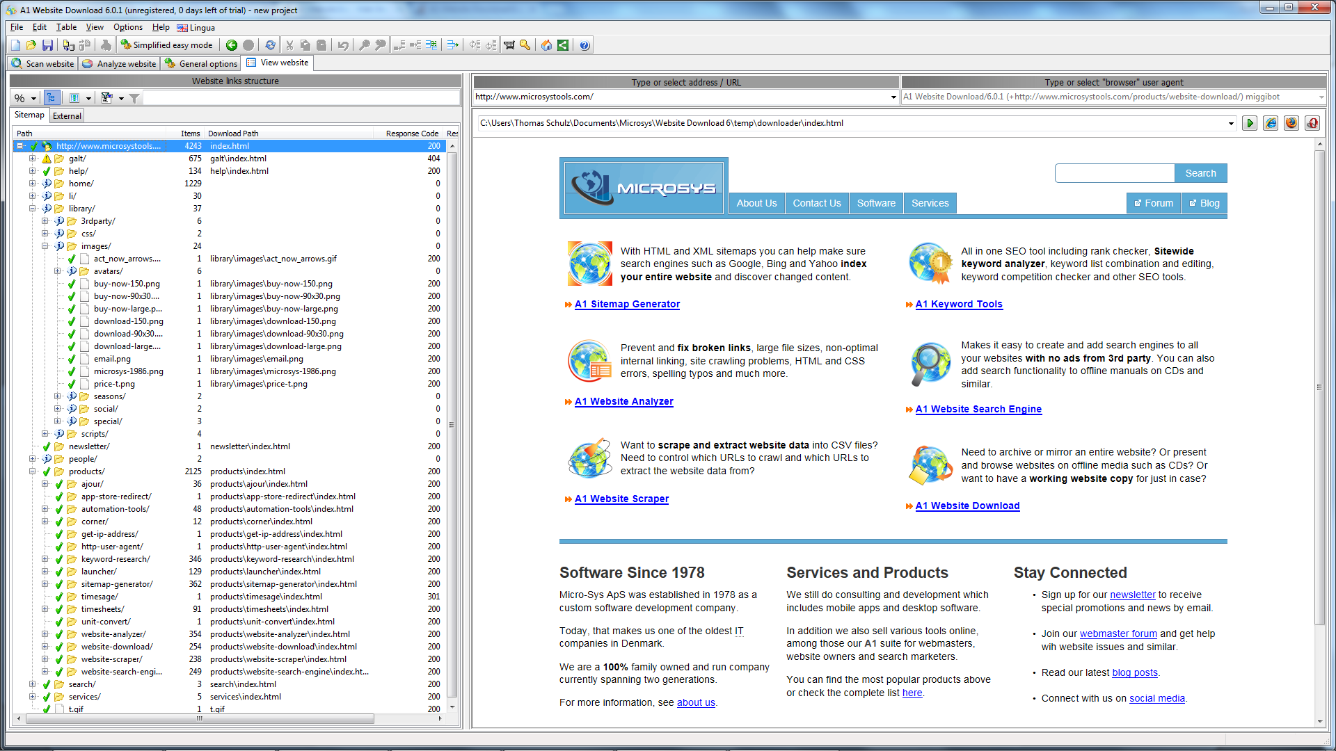 A1 Website Download 8.x Screenshot