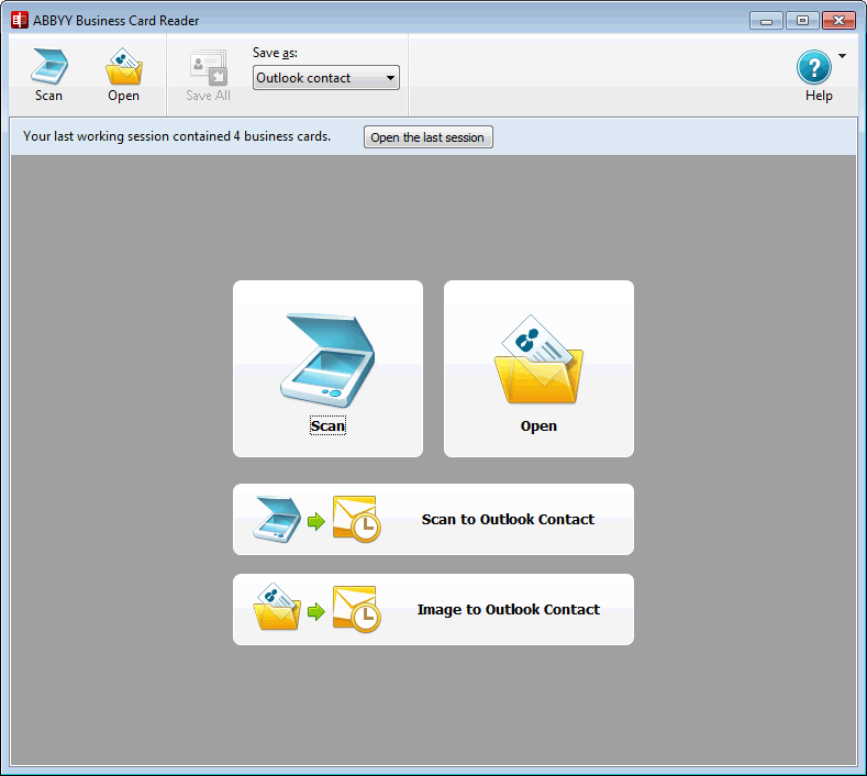 ABBYY Business Card Reader 2.0 for Windows Screenshot