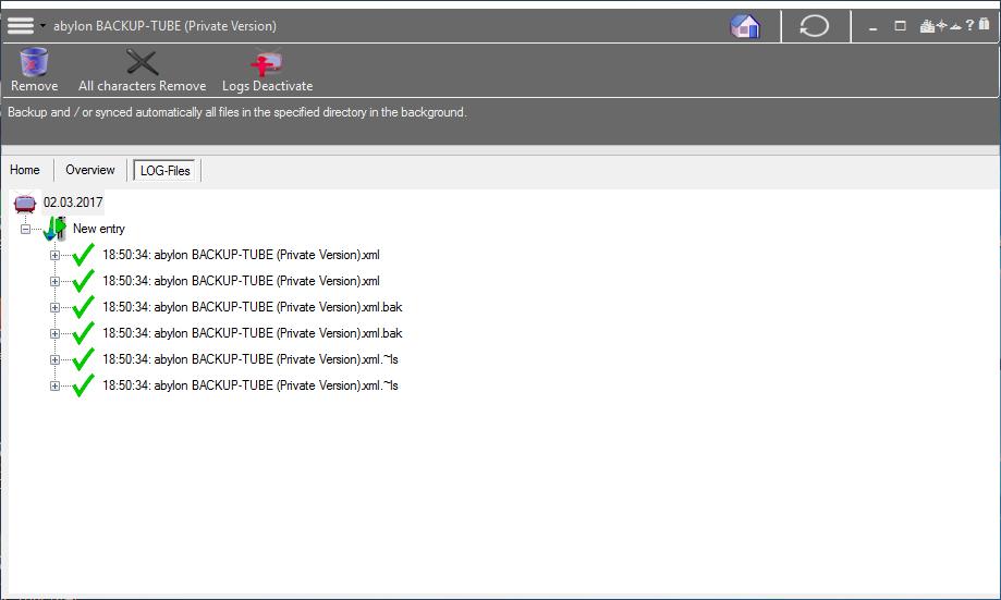 abylon BACKUP-TUBE, Security Software Screenshot