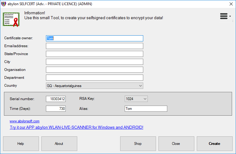 abylon BASIC, Security Software, Access Restriction Software Screenshot