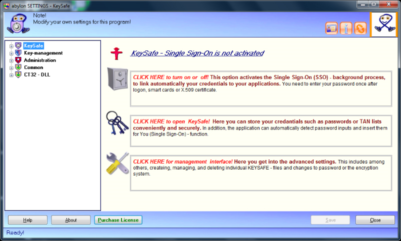 Access Restriction Software, abylon KEYSAFE Screenshot