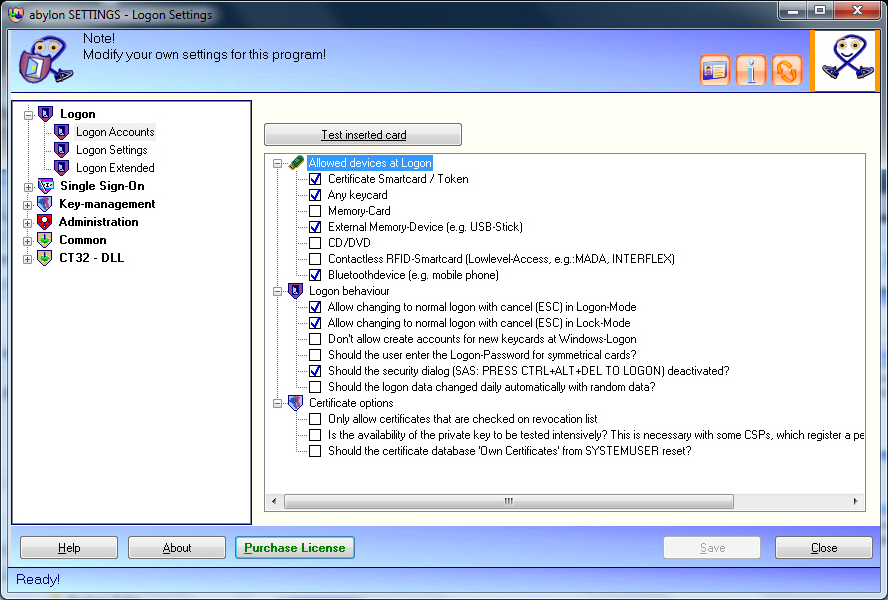 Access Restriction Software, abylon LOGON Screenshot