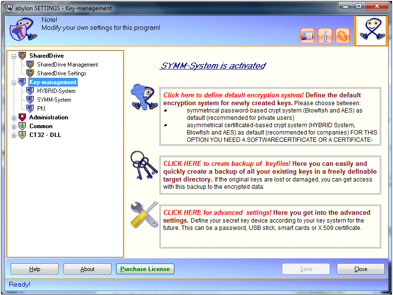 Access Restriction Software, abylon SHAREDDRIVE Screenshot