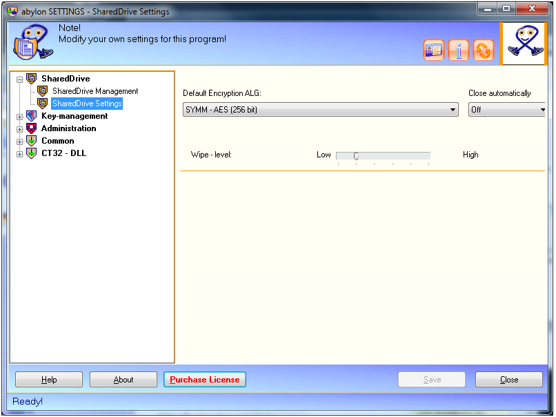abylon SHAREDDRIVE, Security Software Screenshot