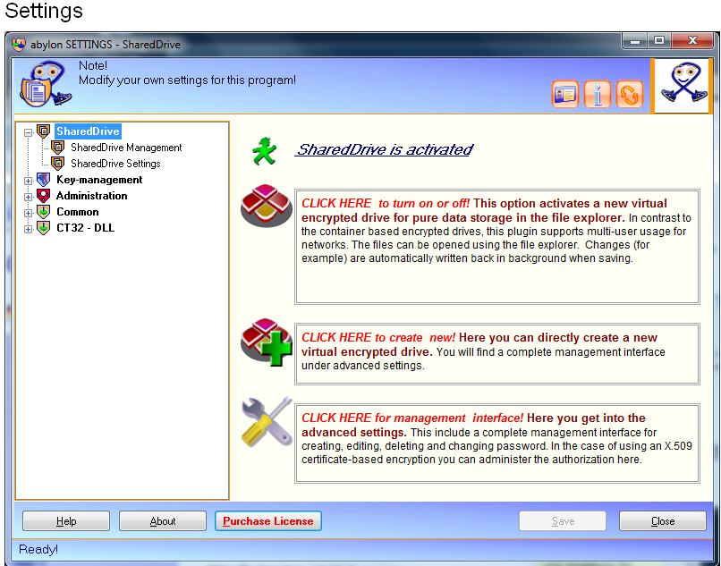 abylon SHAREDDRIVE, Access Restriction Software Screenshot