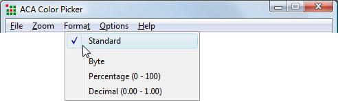 Color Selection Software, ACA Color Picker Screenshot