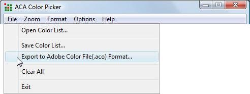 ACA Color Picker, Color Selection Software Screenshot