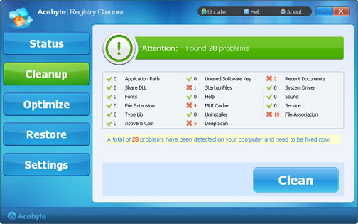 Acebyte Registry Cleaner Screenshot
