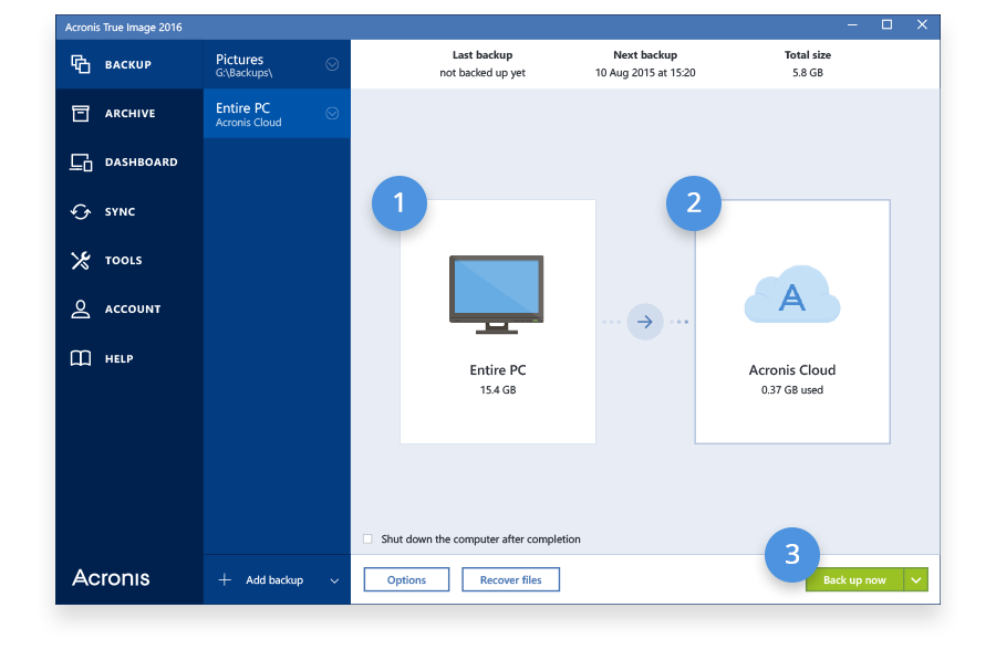 Acronis True Image 2017 Screenshot