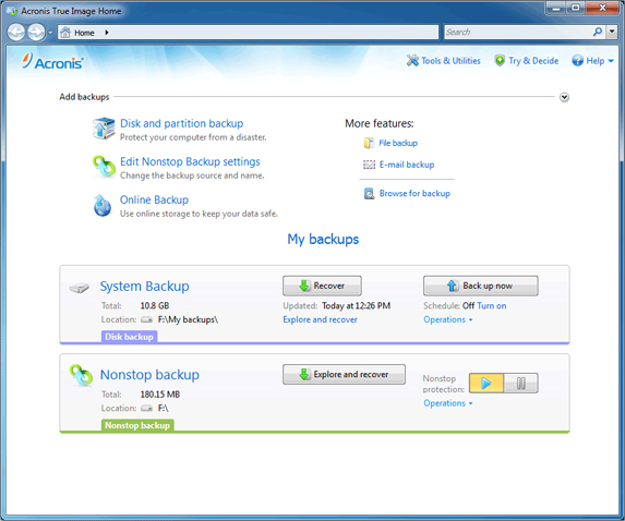 True Image 2013 by Acronis (With Plus Pack Add-on) Screenshot