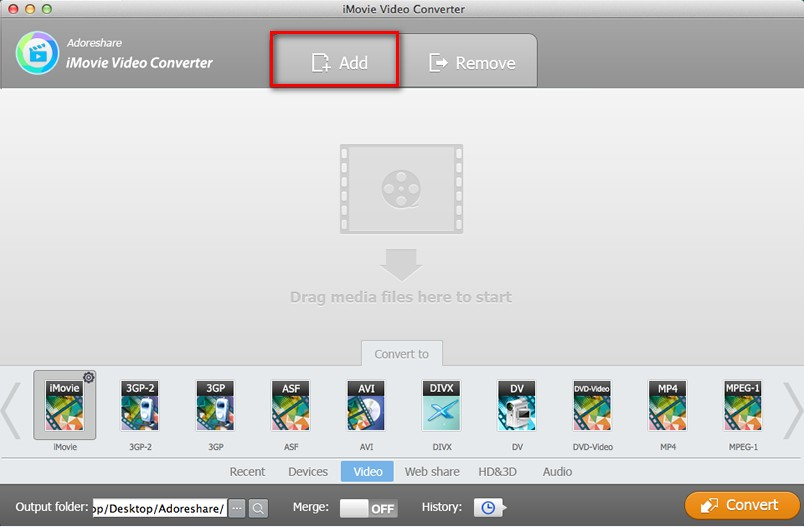 Adoreshare iMovie Video Converter for Mac Screenshot