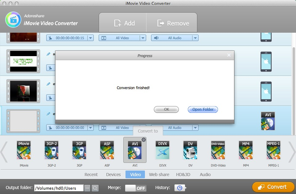 Adoreshare iMovie Video Converter for Mac, Video Software Screenshot
