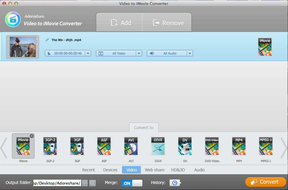 Adoreshare Video to iMovie Converter for Mac, Video Software Screenshot