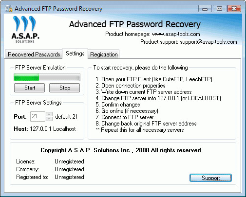 Advanced FTP Password Recovery Screenshot