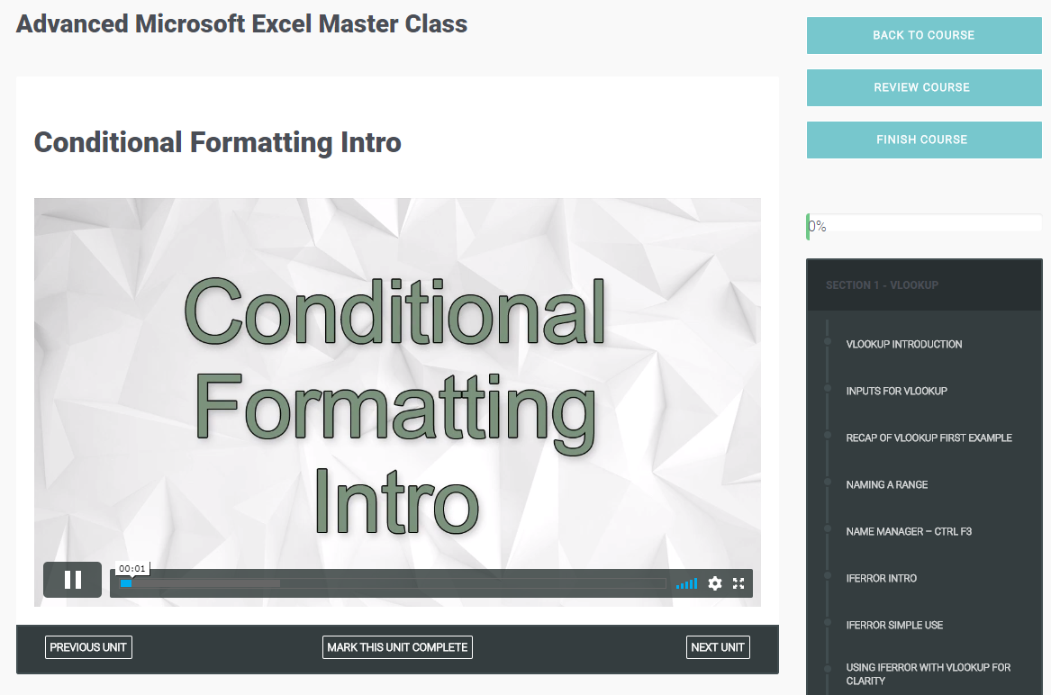 Advanced Microsoft Excel Master Class, Learning and Courses Software Screenshot