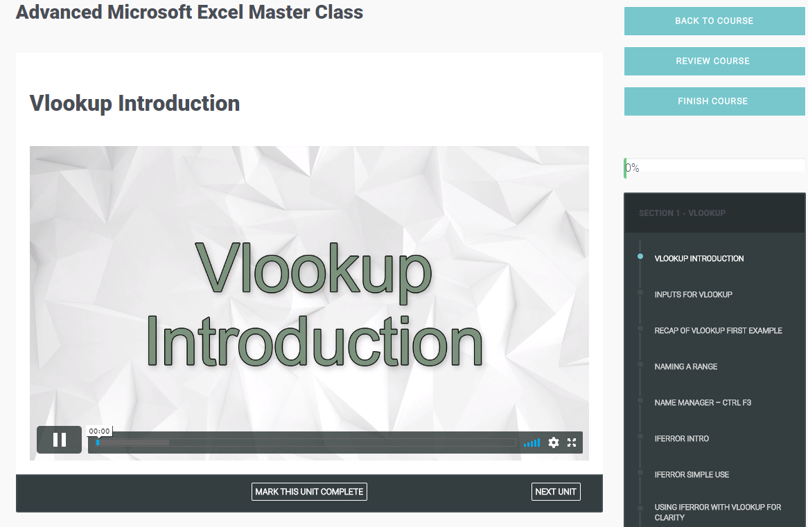Advanced Microsoft Excel Master Class Screenshot