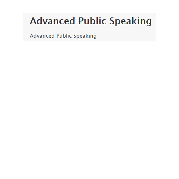 Advanced Public Speaking Screenshot