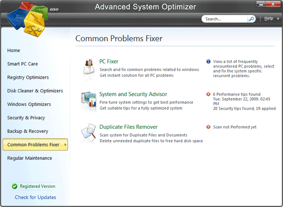 Advanced System Optimizer V3, Software Utilities, System Stability Software Screenshot