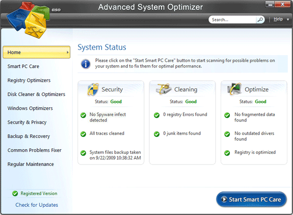 Advanced System Optimizer V3 Screenshot