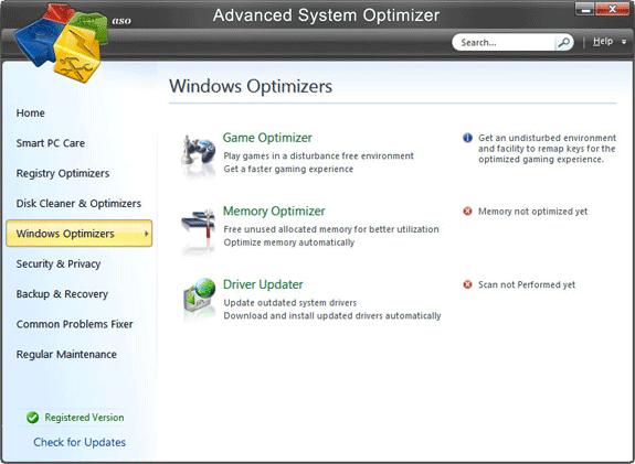 Software Utilities, Advanced System Optimizer V3 Screenshot