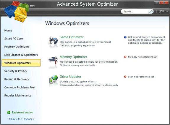 Software Utilities, Advanced System Optimizer V3 Screenshot